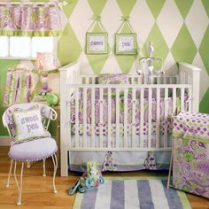 Love the chartreuse green & shades of lavendar & purple for an alternative to the classic baby pink for a girl. This nursery got my pin based on the harlequin painted design on the walls. This is not an easy pattern to paint but I think it is high impact no matter the color palette.