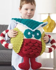 Loveable owl that doubles as a huggable pillow! Crocheted in Bernat Softee Chunky.