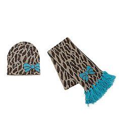 Copper Key Animal Print Scarf and Hat Set #Dillards