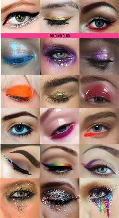 Foco total nos olhos para o Carnaval! Delineados criativos ou invertidos, sombras coloridas, desenhos profissionais e brilho, muito brilho!