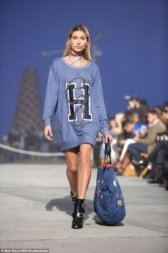 All American girl: Hailey walked in the Tommy Hilfiger show in Los Angeles on Wednesday in...