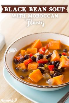 Looking for a hearty soup that is both savory and delicious? Whether it's lunch or dinner, this meatless dish can be served up for any occasion.  Use a Reynolds Slow Cooker Liner when cooking this rich and savory Vegetarian Black Bean Soup and skip the hassle of cleanup! Try your hand at this delicious soup today.