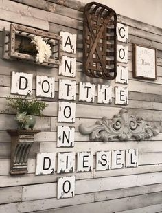 Farmhouse Wall Decor,Large Scrabble Wall Tiles,Distressed Home Decor, Handcrafte… – esemun Cute Dorm Rooms, Cool Rooms, Scrabble Wand, Scrabble Tiles, Scrabble Wall Art, Easy Home Decor, Cheap Home Decor, Renovation Design, Diy Home Decor For Apartments