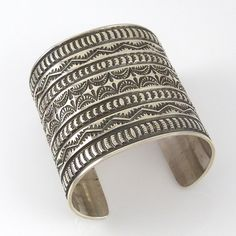 Wide Stamped Silver Cuff by Sunshine Reeves, Navajo, sterling silver