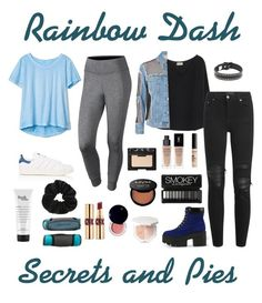 """Rainbow Dash/Secrets and Pies"" by graciedaye ❤ liked on Polyvore featuring NIKE, Gap, adidas, Miss Selfridge, philosophy, Marika, American Vintage, Topshop, Junya Watanabe and AMIRI"