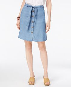39.99$  Buy now - http://viobn.justgood.pw/vig/item.php?t=6rslxmd4167 - Petite Belted Button-Front Denim Skirt, Only At Macy's