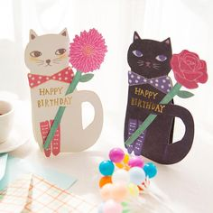 90047216b581 1 pcs Creative cute cat and flowers greeting message card with envelope  Kawaii Kids Birthday Gift cards. Meow Cat Imports
