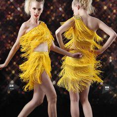 Gold Yellow Sequin Studded One Shoulder Ballroom Dancing Set Clothing SKU-401335