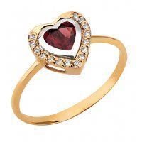 Anel Coração de Granada Ouro18k c/Diamantes