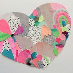 And a sugary sweet love heart too. Heart Collage, Heart Art, Collage Art, Box Creative, Creative Crafts, Kunstjournal Inspiration, Art Journal Inspiration, Kids Art Class, Art For Kids
