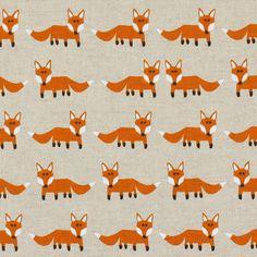 Standing Fox 1 - luonnonvalkoinen - Lastenkankaat eläinkuvioisia - Koristekankaat eläimetkuvioilla - kankaita.com