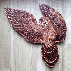 Owl in flight wall hanging, Owl Wall Decor, Wood Owl, pyrography owl, bird  lovers gift, wall art