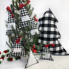 Christmas Makes, Merry Little Christmas, Rustic Christmas, Red Christmas, Xmas, Holiday, Buffalo Plaid Christmas Ornaments, Fabric Christmas Trees, Christmas Sewing
