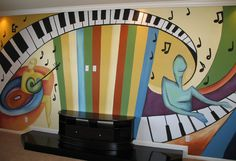 Mural for our music room wall. Music Wall Art, Music Decor, Home Music Rooms, Hallway Displays, School Murals, School Art Projects, School Ideas, Hobby Room, Music Classroom