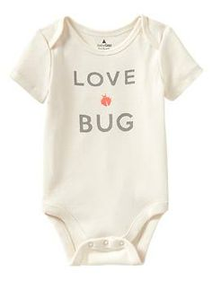 "Cheeky graphic bodysuit... newborn unisex. My sister use to be called ""bug"" growing up... so this is suiting!!!"