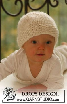 "DROPS Baby 16-14 - Knitted DROPS hat in ""Eskimo"". - Free pattern by DROPS Design"