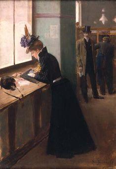 At the Telegraph, Jean Beraud. French (1849 - 1935):