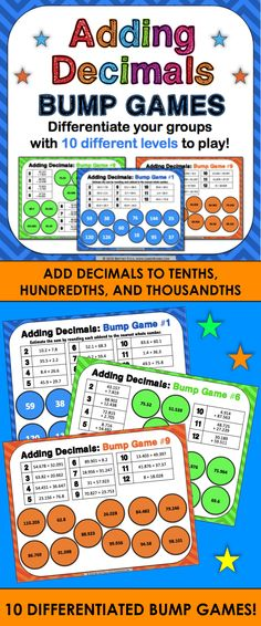 Adding Decimals Bump Games contains 10 different games to help students practice adding decimals to tenths, hundredths, and thousandths. As students work through the games, each one ramps up in difficulty. This means that you can have all of your students working at their appropriate level when using this set!  Plus, these bump games are so simple to use, and take a minimal amount of prep. Simply print out the game sheet, get 2 dice and 20 counters, and you'll be ready to go!