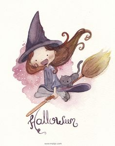 halloween by malipi Halloween Pictures, Halloween Crafts, Happy Halloween, Halloween Decorations, Halloween Illustration, Cute Illustration, Haunted Tree, Witch Pictures, Witch Art