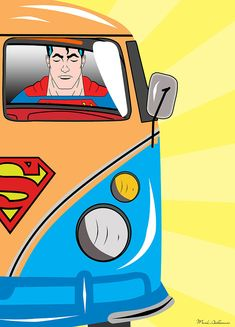 Superman in his VW Camper Van pop art