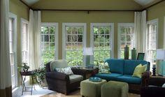 Sunroom Window Treatments : Modern Sunroom Interior Design Ideas With Window Treatments Ciiwa ~ Sunroom Designs. Sunroom Curtains, High Curtains, Sunroom Windows, Ceiling Windows, Cafe Curtains, Small Windows, Custom Curtains, Window Curtains, Sunroom Furniture