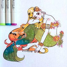 "8,978 curtidas, 35 comentários - Vicki (@vickisigh) no Instagram: ""day 21 of #mermay ! she's a cactus flower~ copic and ink #artistsofinstagram"""