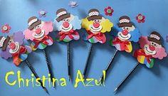 """Christina Azul: Molde """"Palhaço no pirulito e ponteira de lápis"""" em EVA"""