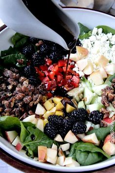 Apple Walnut Salad doused with the most delectable easy sweet, tangy Blackberry Balsamic Vinaigrette and packed with a rainbow ofharmonious sweet and tartblackberries, apples, and mangoes.This Apple Walnut Salad Recipe might just turn out to be the best salad of your life. Can I say perfect for Easter?