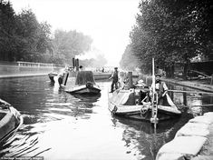 size: Photographic Print: Boats on Regent's Canal, London, : Old London, East London, Victorian London, Vintage London, London Docklands, Regents Canal, London Pictures, London Photos, London History
