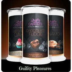 Our Guilty Pleasure jewelry candle collection includes Birthday Cake, Chocolate Fudge and Cinnamon Bun candles. Enjoy the sweet aroma of dessert without the hassle of baking! Simply light your candles and your home will fill with the decadent scents of creamy milk chocolate, sticky cinnamon buns dripping with icing and creamy vanilla birthday cake. Full size 21oz jewelry candle - 100% all natural soy candle burns for 100-150 hours. Jewelry in every candle. YOU choose the jewel for EACH…