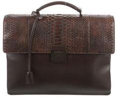 Salvatore Ferragamo Python Flap Briefcase- 7112style.website -
