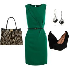 Chic Green Dress Outfit Idea for Work size 16