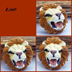 Roaring lion lampwork glass sculpture bead. Izzybeads by Laney