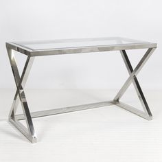 Worlds Away - Mark Nickel Desk/Console Nickel plated X side iron desk/console w/ beveled glass top.