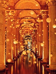 Istanbul, Turkey - Underground Cistern. When visited first time in 04 had an art show in there with these lights.