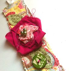 Quilted Fabric Rose Cuff Bracelet with Button by TheArtsySister, $12.99