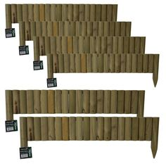 Garden Wooden Border Fixed Edge Picket Fence Outdoor Lawn Edging 1 m long Log