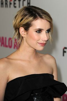 Emma Roberts a strapless neckline with ruffle