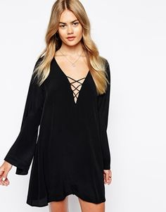Motel+Swing+Dress+With+Lace+Up+&+Flare+Sleeves