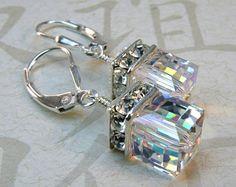 Pink Earrings Crystal Drop Swarovski Cube Rose Gold by fineheart