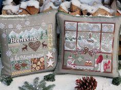 Добро пожаловать в горы!  Люблю-люблю вышивать сюжеты от Мадам Феи, особенно новогодние! Сегодня я с очередной подушкой, вернее- с двум...