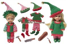 Elves Crochet Pattern for Children Fashion Dolls - $4.00 by Rebeckah Ferger of Rebeckah's Treasures / Elves - 12 Crochet Round Ups of Christmas - Rebeckah's Treasures