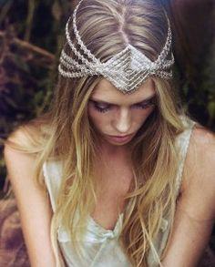 beaded diamond headpiece.