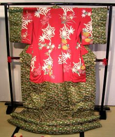 Oiran kimono, likely dating to late 19th century to early 20th century. At exhibition held near Tokyo, Japan.