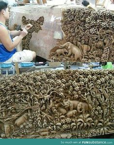 Brilliant Carving/Sculpture from Thailand Art Sculpture En Bois, Elephant Sculpture, Elephant Art, Stone Sculpture, Instalation Art, Wood Carving Art, Wood Carvings, Stone Carving, Form Design