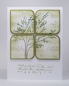 Heather Telford  reated the design on a panel by first stamping the music background lightly then the tree which was inked with markers. Then  sliced the panel into squares, rounded two corners on each square and added some perimeter sponging  before matting them and popping them up.