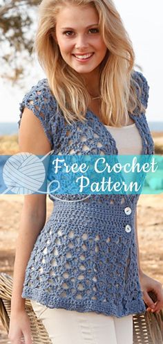 Leona [CROCHET FREE PATTERNS] I hope you have enjoyed this beautiful crochet, the free pattern is HERE so you can make a beautiful crochet. Crochet Jacket, Crochet Cardigan, Knit Or Crochet, Crochet Crafts, Crochet Stitches, Free Crochet, Crochet Patterns, Crochet Sweaters, Crochet Tops