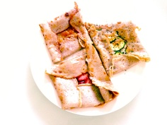 SOBA Galette with  *strawberries & butter sugar *Jam *zucchini & cheese