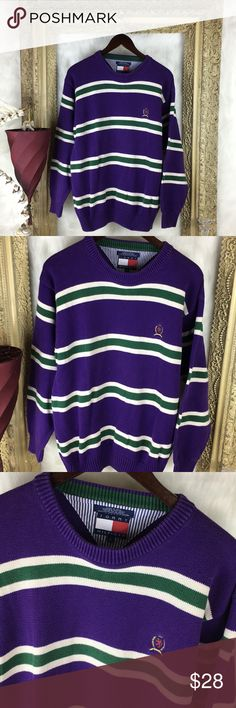 Vintage Tommy Hilfiger Crewneck Crest Sweater Size Large x  excellent  vintage piece in Great condition x see photos for all details Tommy Hilfiger Sweaters Crewneck