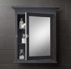 RH's Cartwright Wall-Mount Medicine Cabinet:With clean lines and a timeless aesthetic, Cartwright makes a striking statement in any bath. Bath, Restoration Hardware, Wall Mounted Medicine Cabinet, Cabinet Organization, Cabinet, Wall Mount, Small Condo, Small Wall, Bathroom